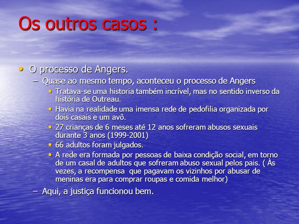 Os outros casos : O processo de Angers. O processo de Angers. –Quase ao mesmo tempo, aconteceu o processo de Angers Tratava-se uma historia também inc