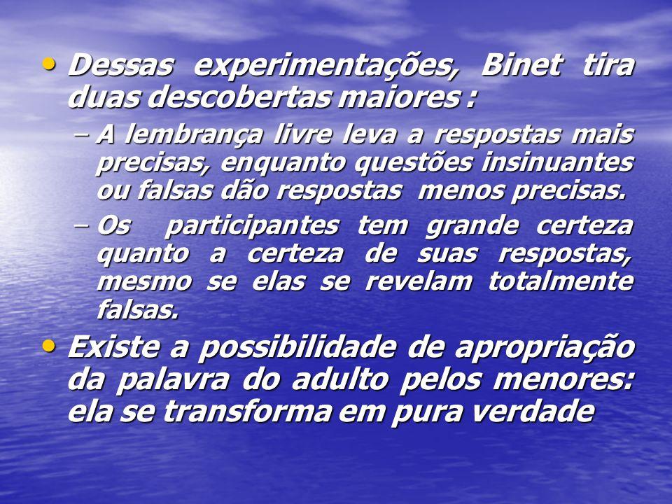 Dessas experimentações, Binet tira duas descobertas maiores : Dessas experimentações, Binet tira duas descobertas maiores : –A lembrança livre leva a