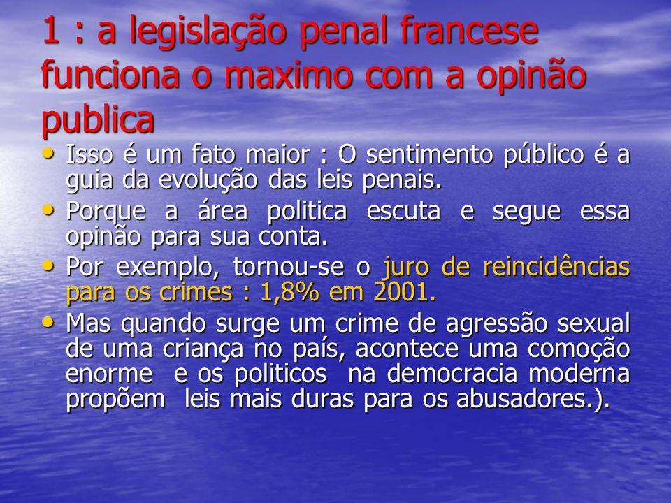 1 : a legislação penal francese funciona o maximo com a opinão publica Isso é um fato maior : O sentimento público é a guia da evolução das leis penai