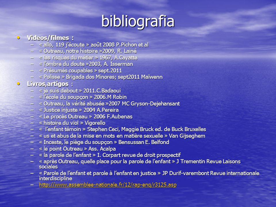 bibliografia Videos/filmes : Videos/filmes : –« allo, 119 jécoute » août 2008 P.Pichon et al –« Outreau, notre histoire »2009, R. Lainé –« les risques