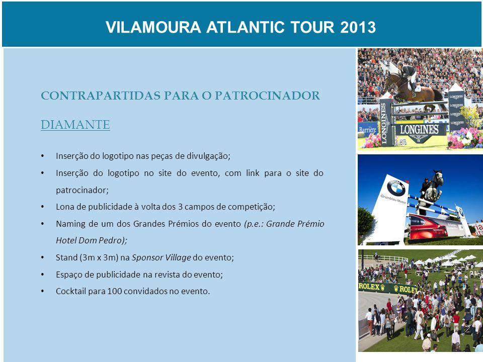 VILAMOURA ATLANTIC TOUR 2013 CONTRAPARTIDAS PARA O PATROCINADOR DIAMANTE Inserção do logotipo nas peças de divulgação; Inserção do logotipo no site do