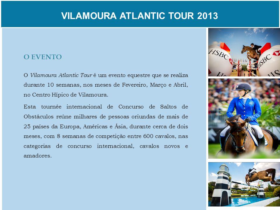 VILAMOURA ATLANTIC TOUR 2013 O EVENTO O Vilamoura Atlantic Tour é um evento equestre que se realiza durante 10 semanas, nos meses de Fevereiro, Março