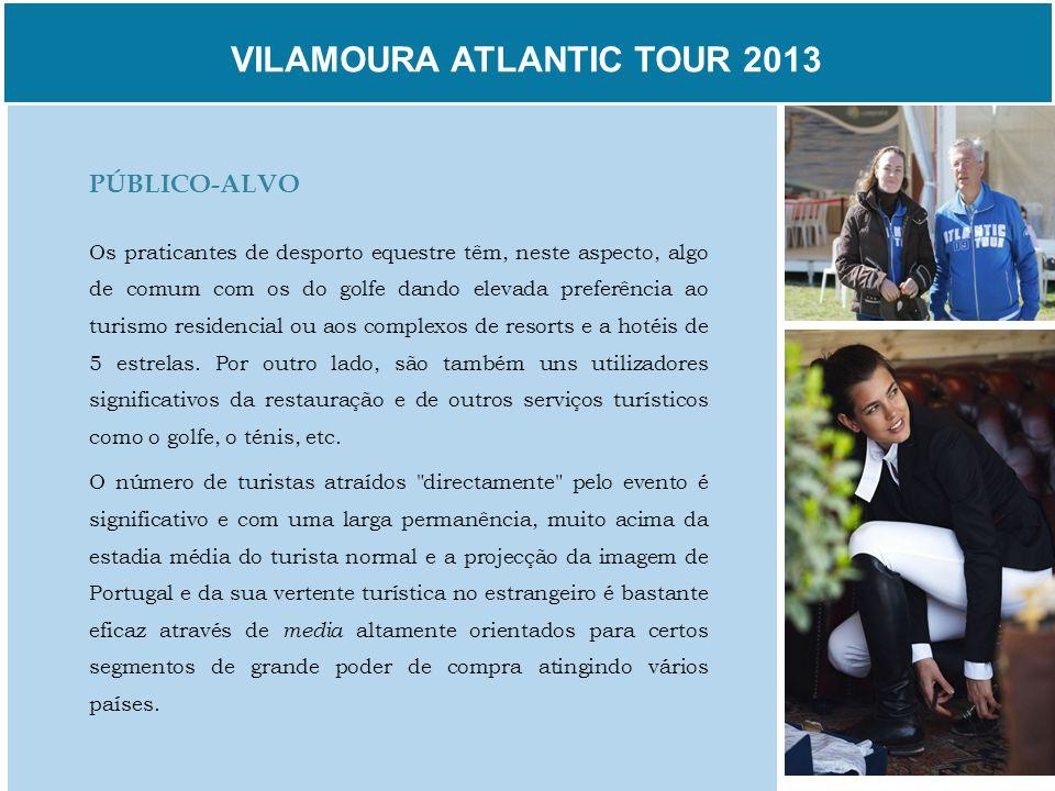 VILAMOURA ATLANTIC TOUR 2013 PÚBLICO-ALVO Os praticantes de desporto equestre têm, neste aspecto, algo de comum com os do golfe dando elevada preferên