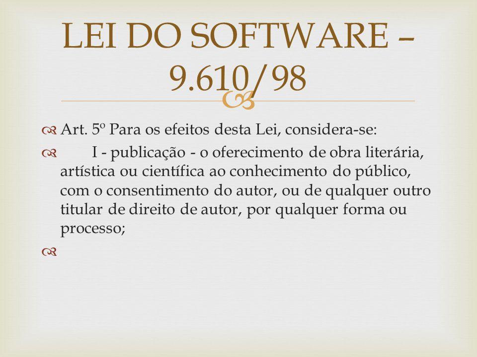 Art. 5º Para os efeitos desta Lei, considera-se: I - publicação - o oferecimento de obra literária, artística ou científica ao conhecimento do público