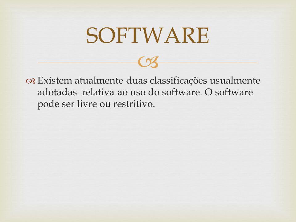 Existem atualmente duas classificações usualmente adotadas relativa ao uso do software.