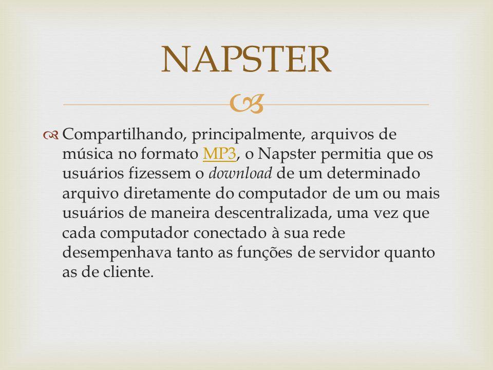 Compartilhando, principalmente, arquivos de música no formato MP3, o Napster permitia que os usuários fizessem o download de um determinado arquivo diretamente do computador de um ou mais usuários de maneira descentralizada, uma vez que cada computador conectado à sua rede desempenhava tanto as funções de servidor quanto as de cliente.MP3 NAPSTER