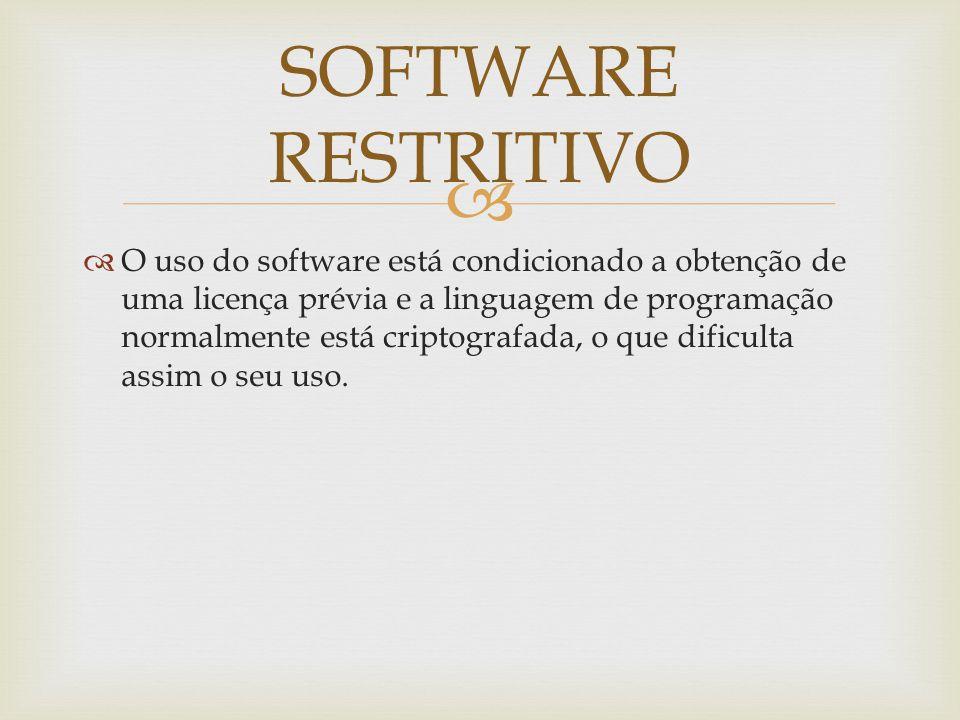 O uso do software está condicionado a obtenção de uma licença prévia e a linguagem de programação normalmente está criptografada, o que dificulta assim o seu uso.