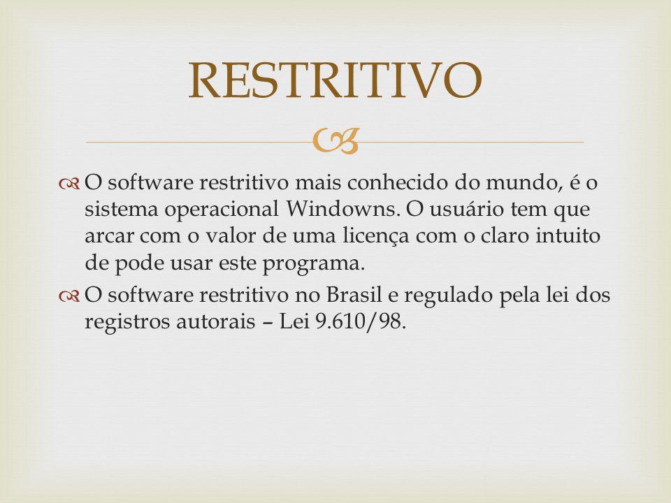 O software restritivo mais conhecido do mundo, é o sistema operacional Windowns.