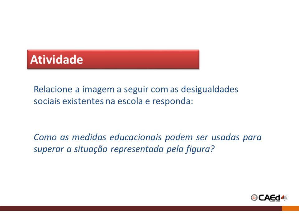 Relacione a imagem a seguir com as desigualdades sociais existentes na escola e responda: Como as medidas educacionais podem ser usadas para superar a situação representada pela figura.