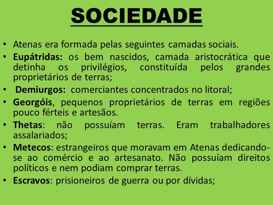 SOCIEDADE Atenas era formada pelas seguintes camadas sociais. Eupátridas: os bem nascidos, camada aristocrática que detinha os privilégios, constituíd