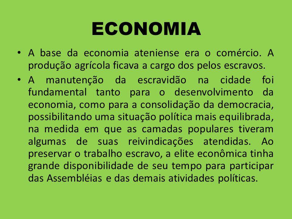 ECONOMIA A base da economia ateniense era o comércio. A produção agrícola ficava a cargo dos pelos escravos. A manutenção da escravidão na cidade foi