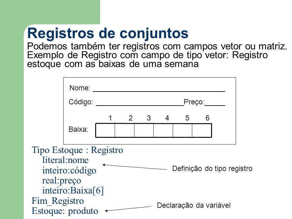 Registros de conjuntos Podemos também ter registros com campos vetor ou matriz. Exemplo de Registro com campo de tipo vetor: Registro estoque com as b