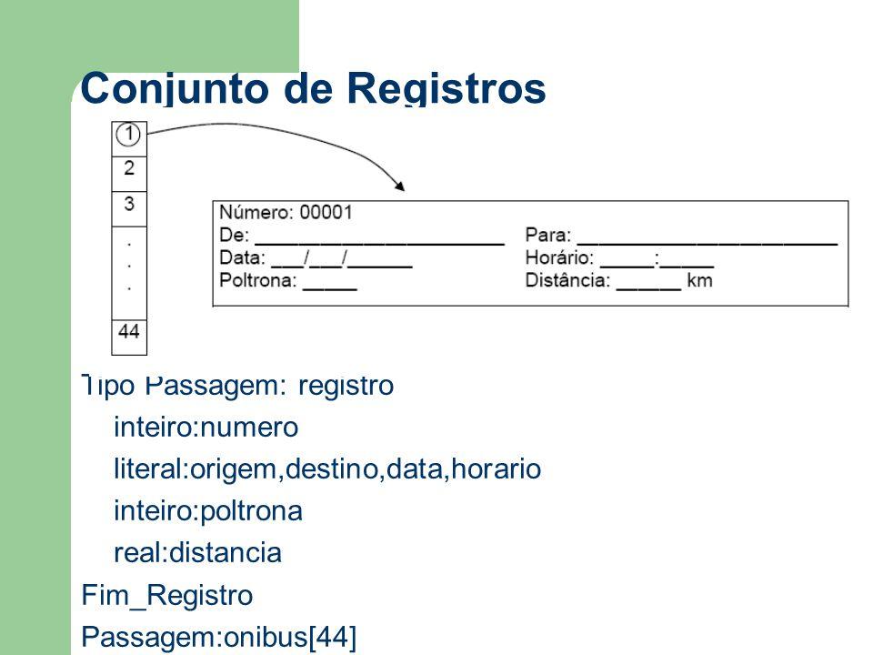 Conjunto de Registros Tipo Passagem: registro inteiro:numero literal:origem,destino,data,horario inteiro:poltrona real:distancia Fim_Registro Passagem