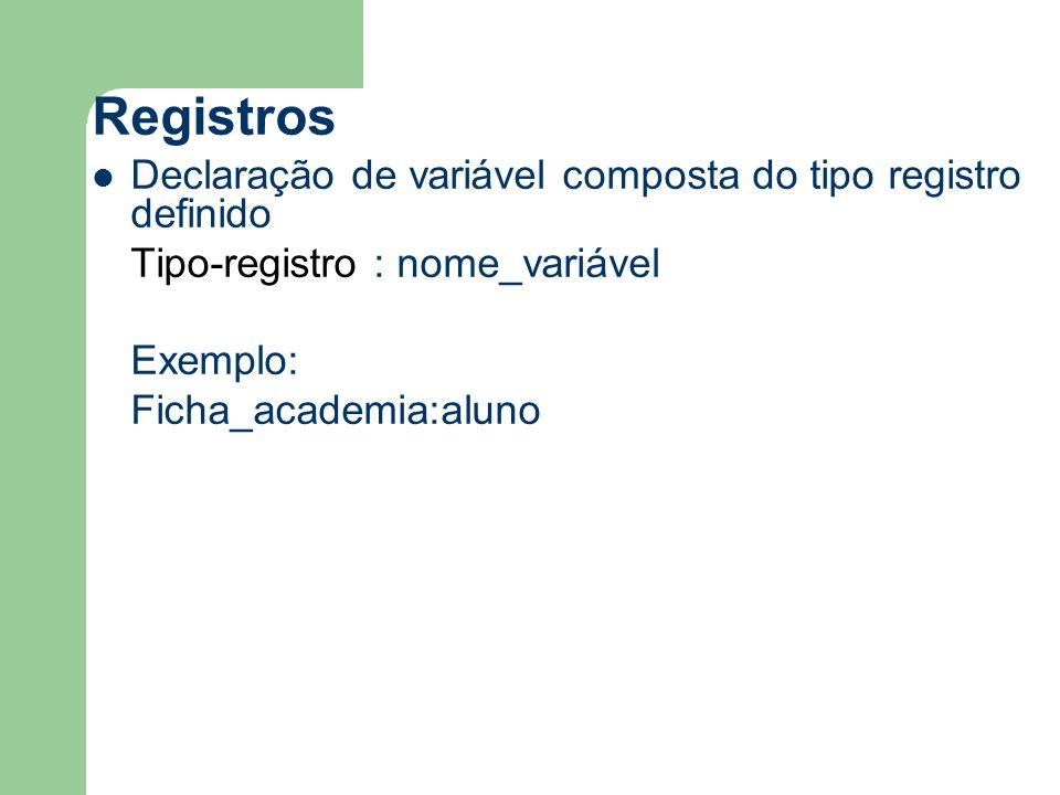 Registros Declaração de variável composta do tipo registro definido Tipo-registro : nome_variável Exemplo: Ficha_academia:aluno