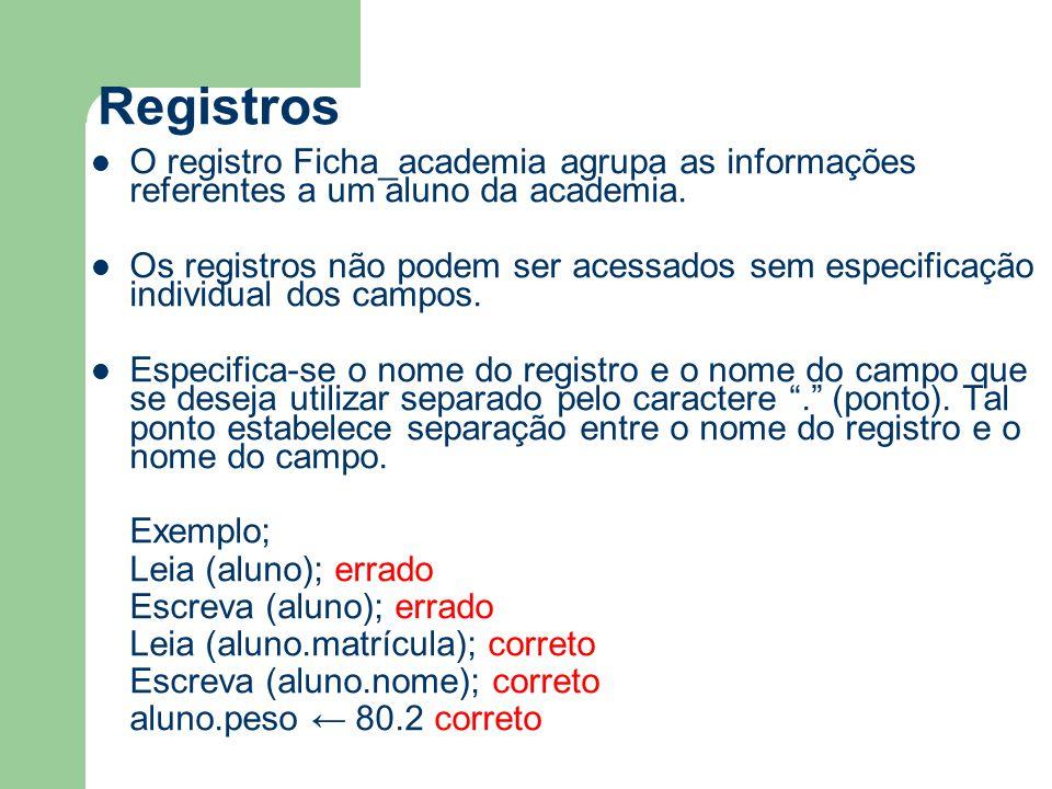 Registros O registro Ficha_academia agrupa as informações referentes a um aluno da academia. Os registros não podem ser acessados sem especificação in