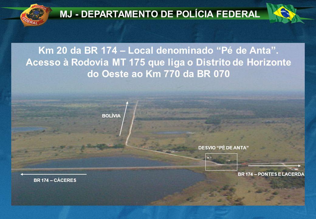 MJ - DEPARTAMENTO DE POLÍCIA FEDERAL Km 20 da BR 174 – Local denominado Pé de Anta. Acesso à Rodovia MT 175 que liga o Distrito de Horizonte do Oeste