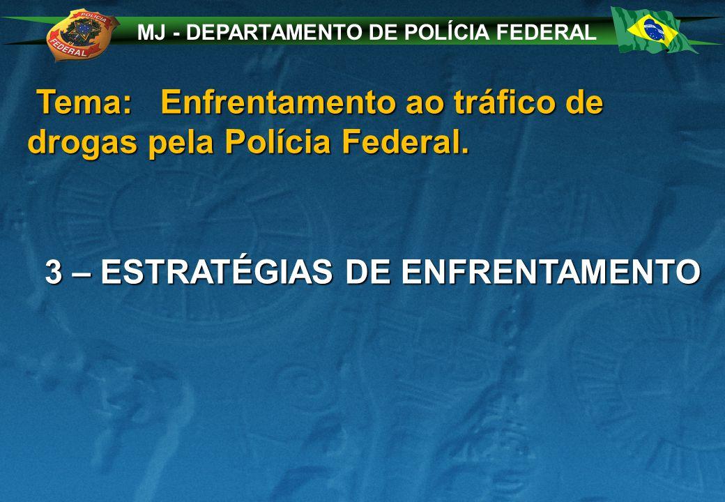 MJ - DEPARTAMENTO DE POLÍCIA FEDERAL Tema: Enfrentamento ao tráfico de drogas pela Polícia Federal.