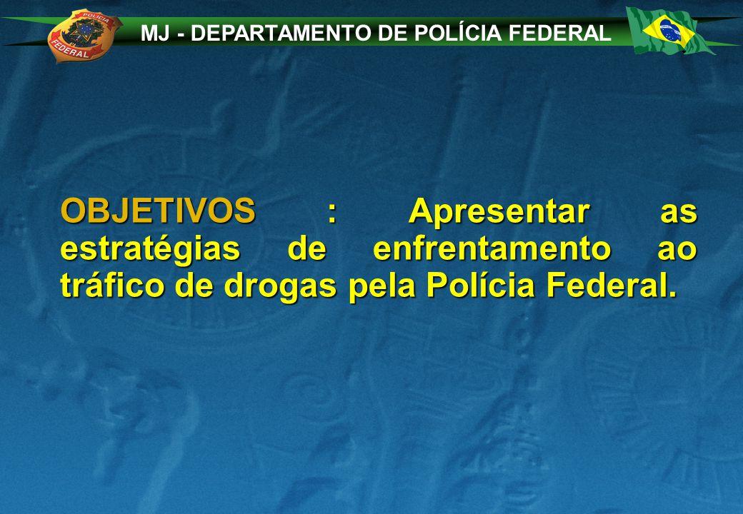 MJ - DEPARTAMENTO DE POLÍCIA FEDERAL OBJETIVOS : Apresentar as estratégias de enfrentamento ao tráfico de drogas pela Polícia Federal.