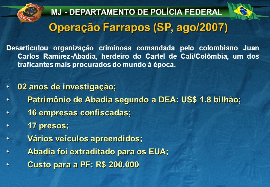 MJ - DEPARTAMENTO DE POLÍCIA FEDERAL Operação Farrapos (SP, ago/2007) Desarticulou organização criminosa comandada pelo colombiano Juan Carlos Ramirez-Abadia, herdeiro do Cartel de Cali/Colômbia, um dos traficantes mais procurados do mundo à época.