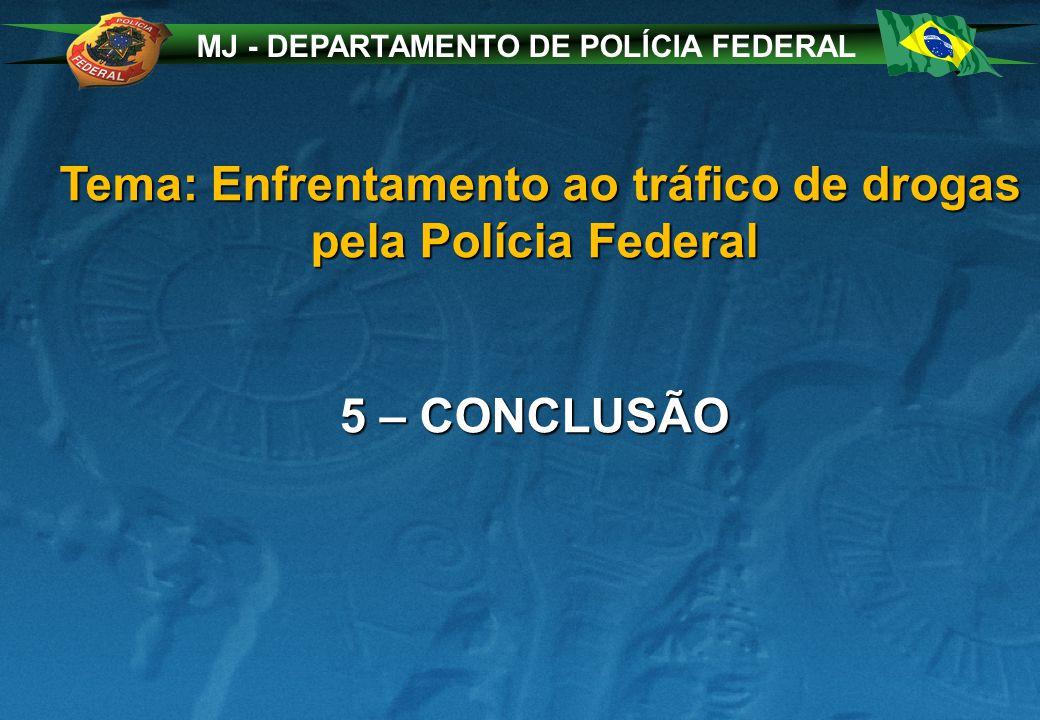 MJ - DEPARTAMENTO DE POLÍCIA FEDERAL Tema: Enfrentamento ao tráfico de drogas pela Polícia Federal Tema: Enfrentamento ao tráfico de drogas pela Polícia Federal 5 – CONCLUSÃO