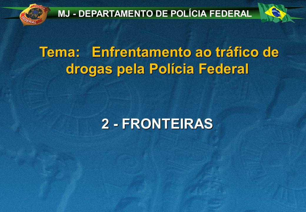 MJ - DEPARTAMENTO DE POLÍCIA FEDERAL Tema: Enfrentamento ao tráfico de drogas pela Polícia Federal Tema: Enfrentamento ao tráfico de drogas pela Polícia Federal 2 - FRONTEIRAS