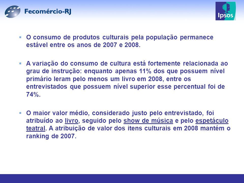 O consumo de produtos culturais pela população permanece estável entre os anos de 2007 e 2008. A variação do consumo de cultura está fortemente relaci
