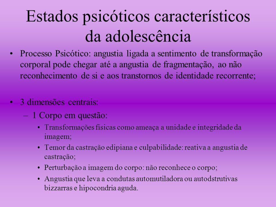 Estados psicóticos característicos da adolescência Processo Psicótico: angustia ligada a sentimento de transformação corporal pode chegar até a angust