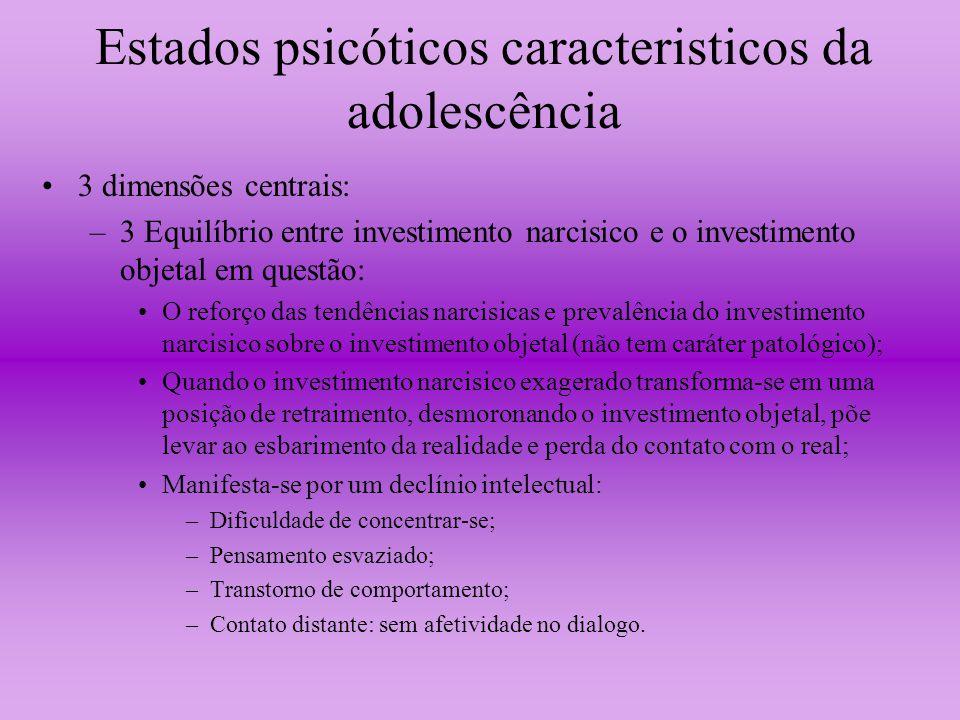 Estados psicóticos caracteristicos da adolescência 3 dimensões centrais: –3 Equilíbrio entre investimento narcisico e o investimento objetal em questã