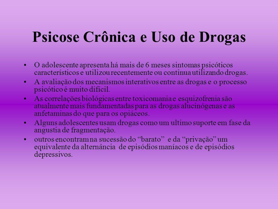 Psicose Crônica e Uso de Drogas O adolescente apresenta há mais de 6 meses sintomas psicóticos característicos e utilizou recentemente ou continua uti