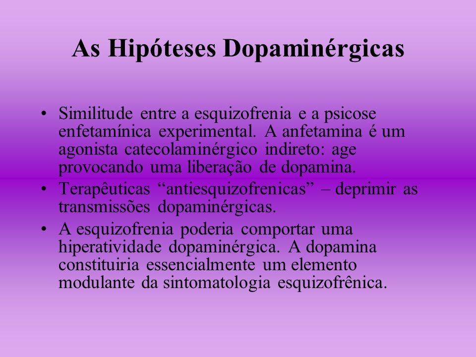 As Hipóteses Dopaminérgicas Similitude entre a esquizofrenia e a psicose enfetamínica experimental. A anfetamina é um agonista catecolaminérgico indir