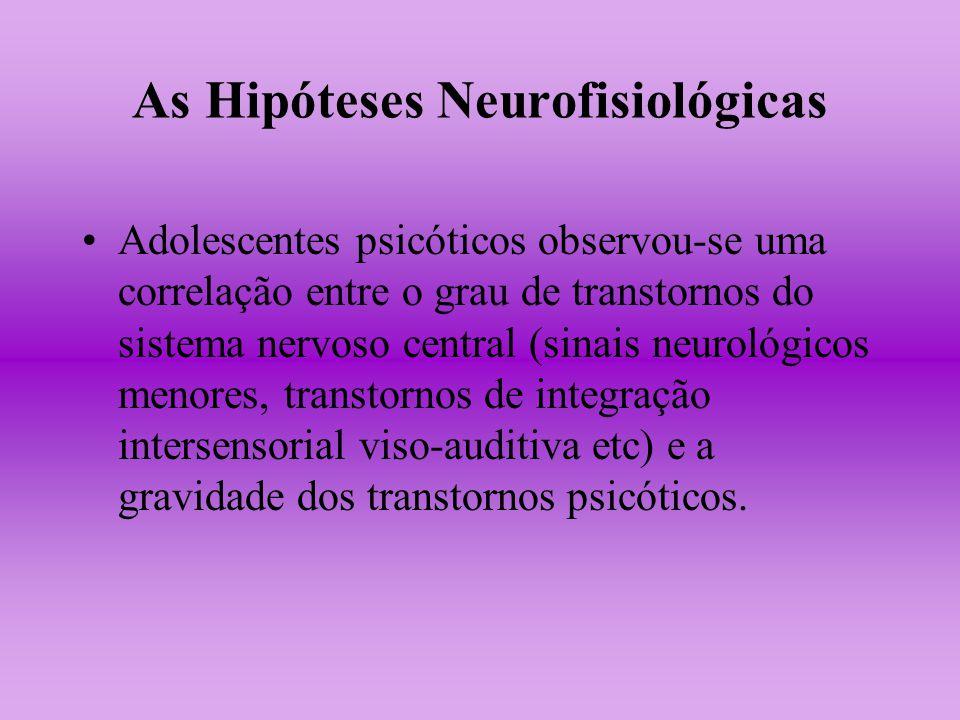 As Hipóteses Neurofisiológicas Adolescentes psicóticos observou-se uma correlação entre o grau de transtornos do sistema nervoso central (sinais neuro