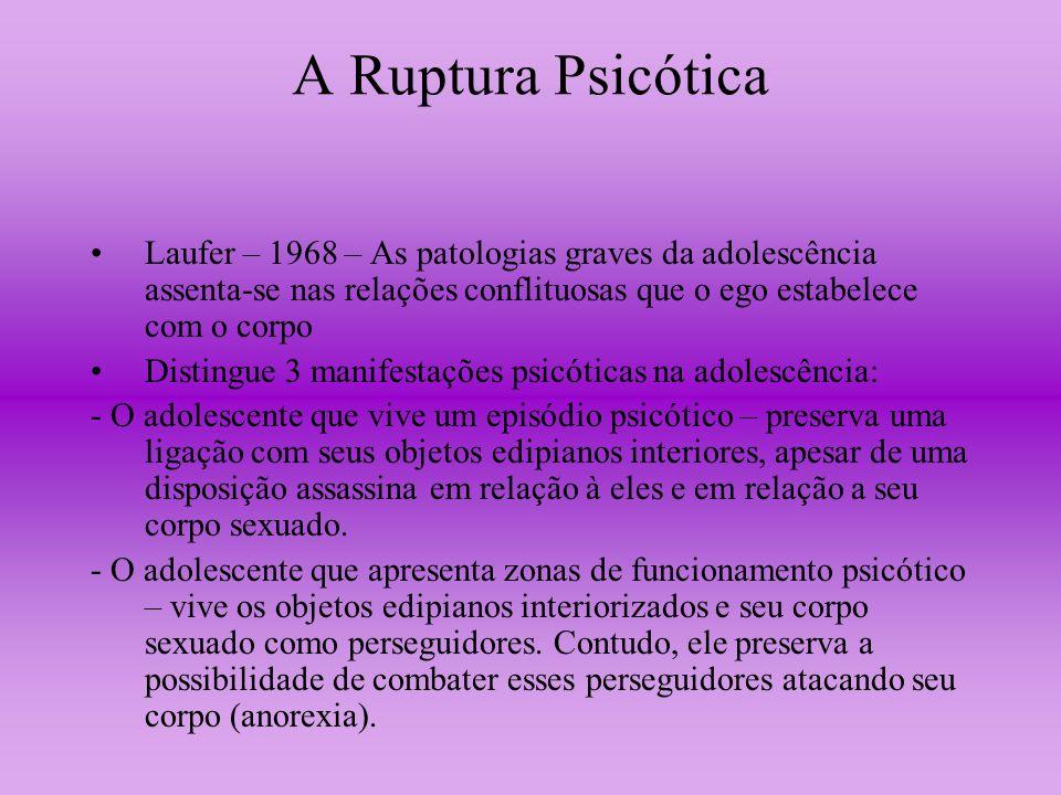 A Ruptura Psicótica Laufer – 1968 – As patologias graves da adolescência assenta-se nas relações conflituosas que o ego estabelece com o corpo Disting