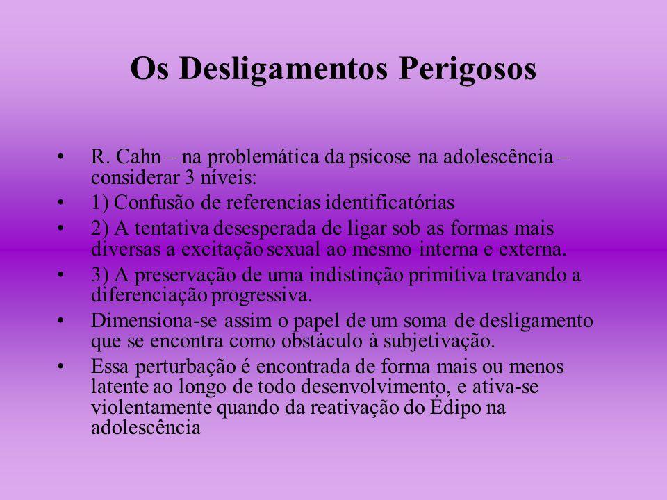 Os Desligamentos Perigosos R. Cahn – na problemática da psicose na adolescência – considerar 3 níveis: 1) Confusão de referencias identificatórias 2)