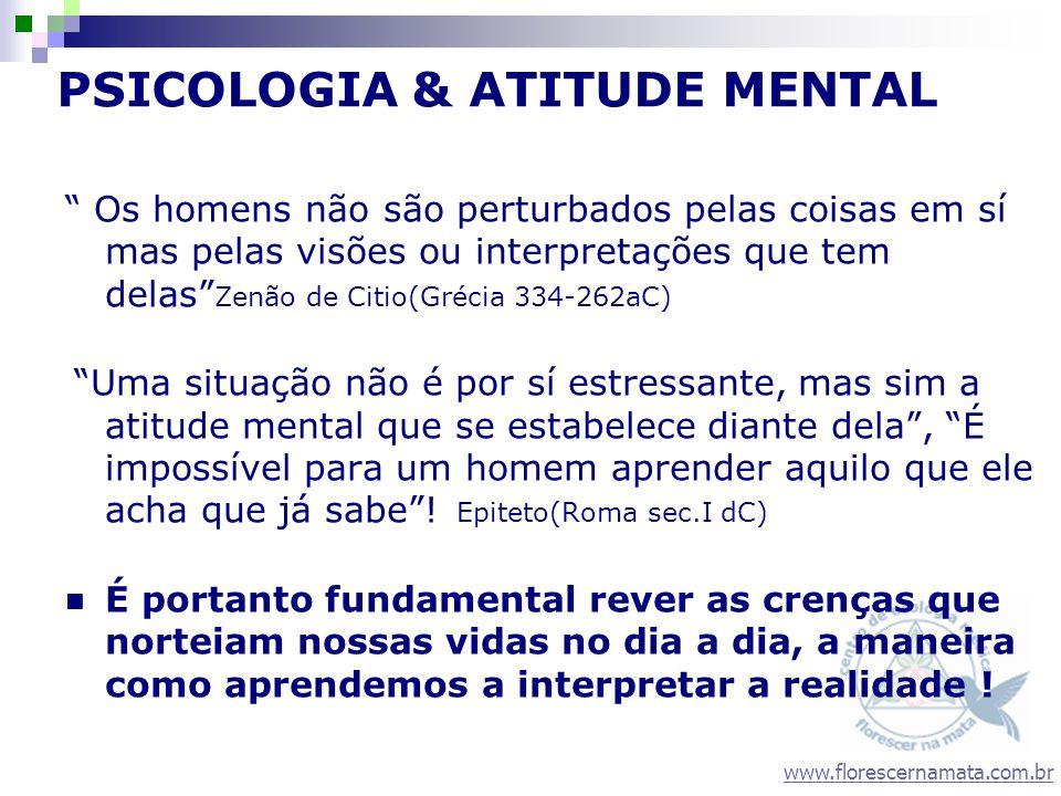 www.florescernamata.com.br PSICOLOGIA & ATITUDE MENTAL Os homens não são perturbados pelas coisas em sí mas pelas visões ou interpretações que tem del