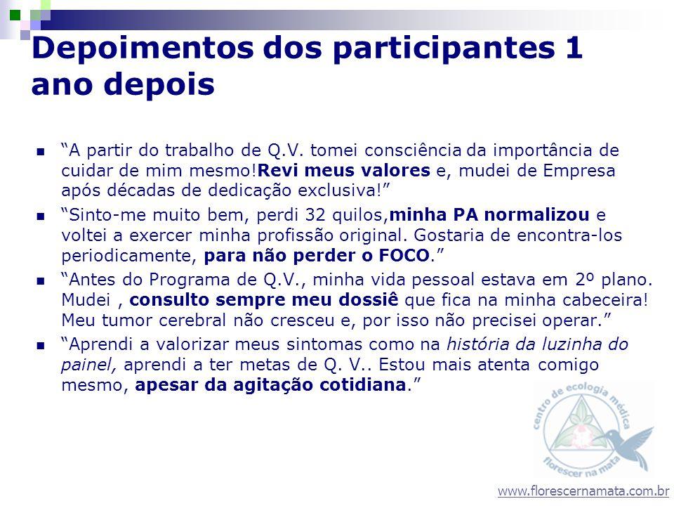 www.florescernamata.com.br Depoimentos dos participantes 1 ano depois A partir do trabalho de Q.V. tomei consciência da importância de cuidar de mim m