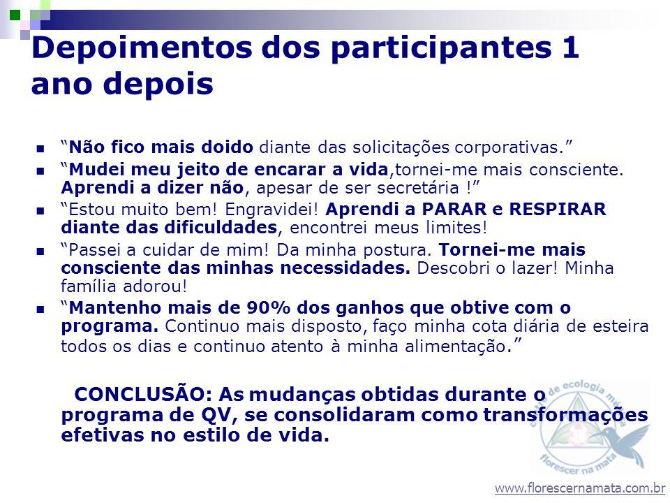 www.florescernamata.com.br Depoimentos dos participantes 1 ano depois Não fico mais doido diante das solicitações corporativas. Mudei meu jeito de enc