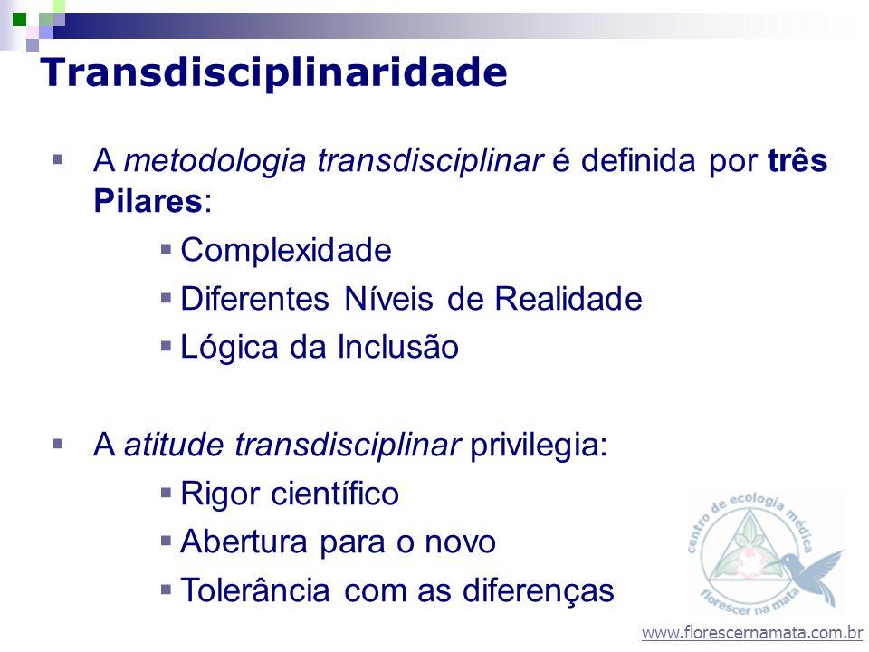 www.florescernamata.com.br Transdisciplinaridade A metodologia transdisciplinar é definida por três Pilares: Complexidade Diferentes Níveis de Realida