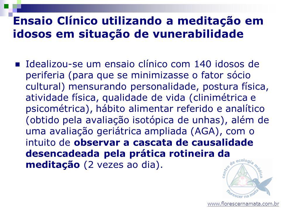 www.florescernamata.com.br Ensaio Clínico utilizando a meditação em idosos em situação de vunerabilidade Idealizou-se um ensaio clínico com 140 idosos