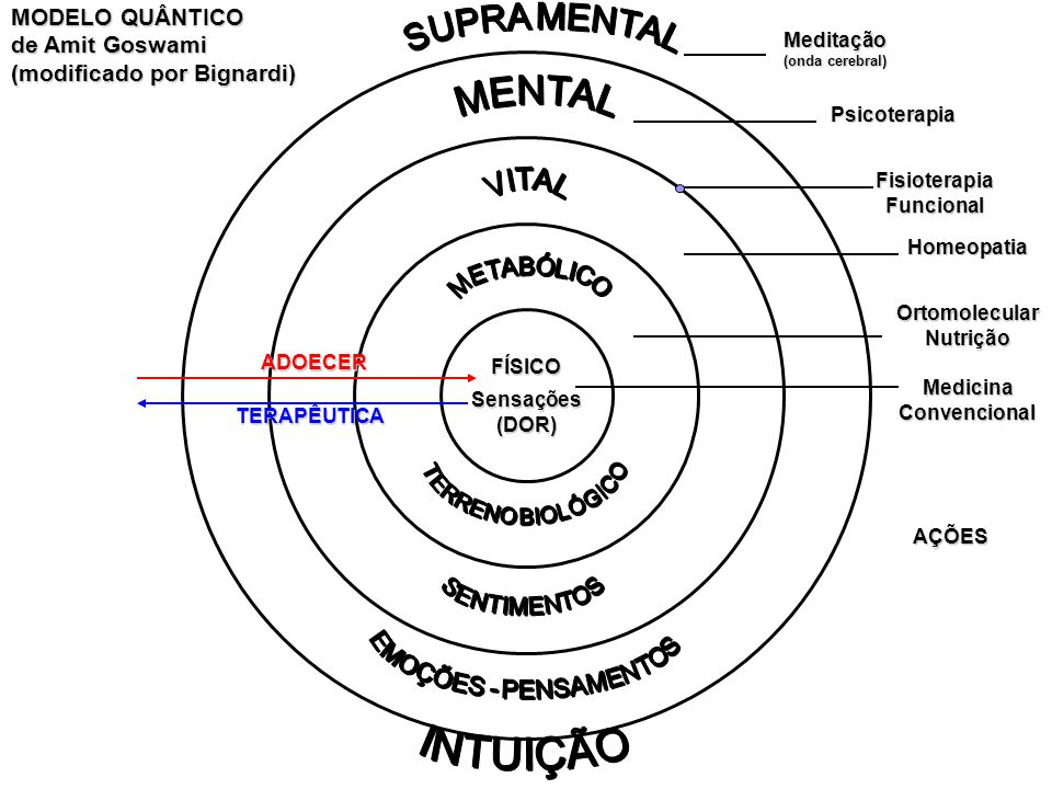 MODELO QUÂNTICO de Amit Goswami (modificado por Bignardi) FÍSICO Sensações(DOR) ADOECER TERAPÊUTICA Medicina Convencional OrtomolecularNutrição Homeop