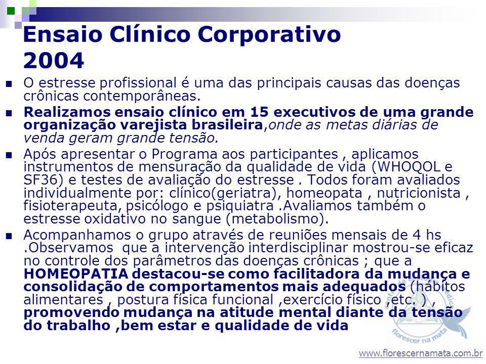 www.florescernamata.com.br Ensaio Clínico Corporativo 2004 O estresse profissional é uma das principais causas das doenças crônicas contemporâneas. Re
