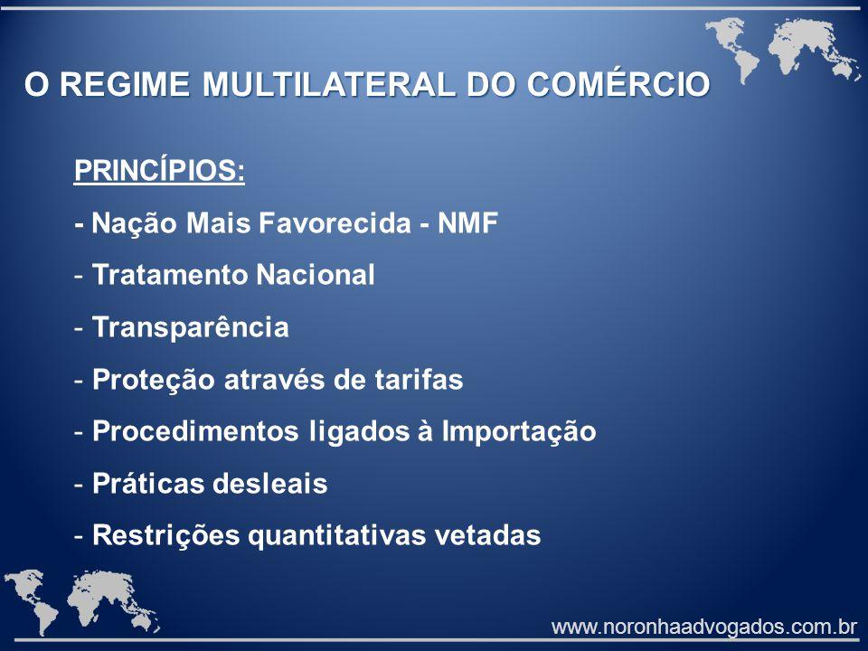 www.noronhaadvogados.com.br O REGIME MULTILATERAL DO COMÉRCIO PRINCÍPIOS: - Nação Mais Favorecida - NMF - Tratamento Nacional - Transparência - Proteç