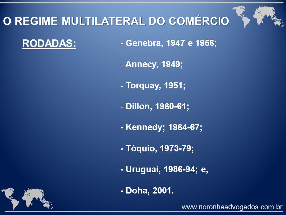 www.noronhaadvogados.com.br O REGIME MULTILATERAL DO COMÉRCIO - Genebra, 1947 e 1956; - Annecy, 1949; - Torquay, 1951; - Dillon, 1960-61; - Kennedy; 1964-67; - Tóquio, 1973-79; - Uruguai, 1986-94; e, - Doha, 2001.