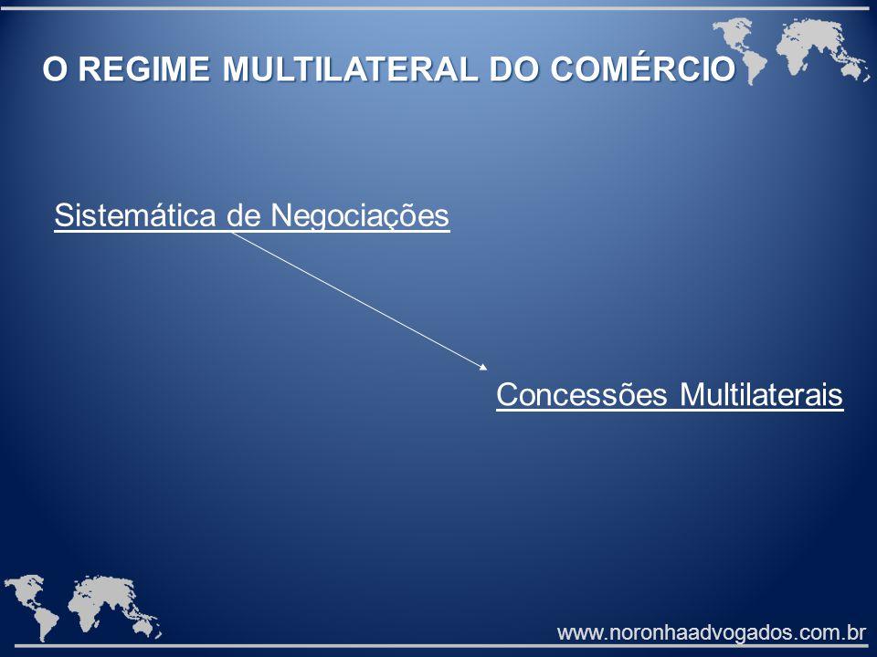 www.noronhaadvogados.com.br O REGIME MULTILATERAL DO COMÉRCIO O REGIME MULTILATERAL DO COMÉRCIO Sistemática de Negociações Concessões Multilaterais