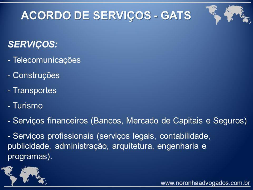 www.noronhaadvogados.com.br ACORDO DE SERVIÇOS - GATS SERVIÇOS: - Telecomunicações - Construções - Transportes - Turismo - Serviços financeiros (Banco