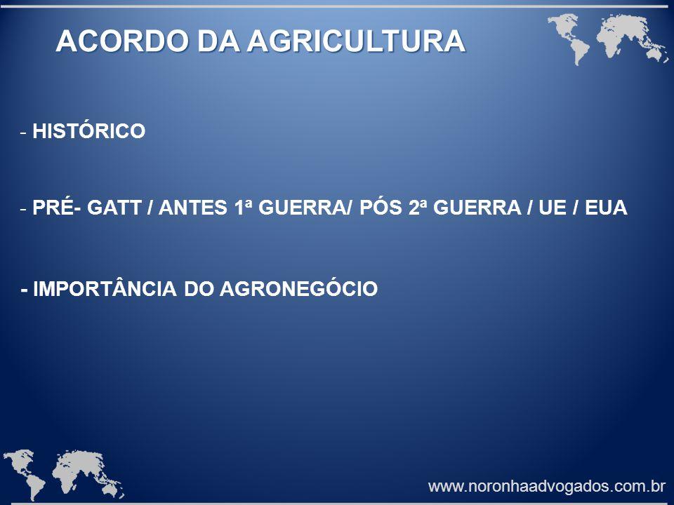 www.noronhaadvogados.com.br ACORDO DA AGRICULTURA - HISTÓRICO - PRÉ- GATT / ANTES 1ª GUERRA/ PÓS 2ª GUERRA / UE / EUA - IMPORTÂNCIA DO AGRONEGÓCIO