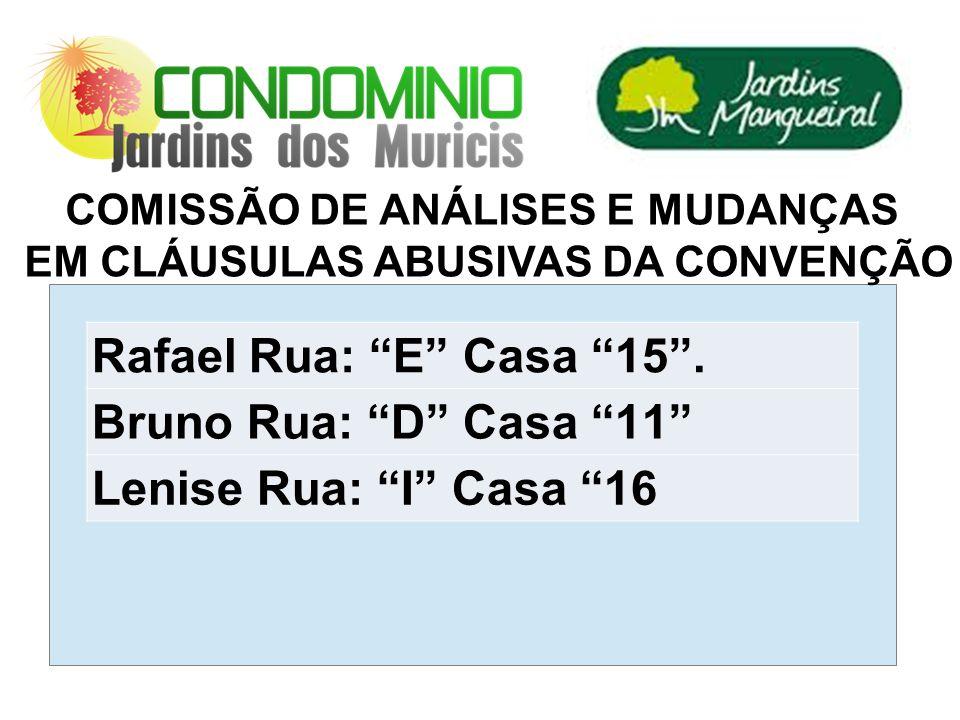 COMISSÃO DE ANÁLISES E MUDANÇAS EM CLÁUSULAS ABUSIVAS DA CONVENÇÃO Rafael Rua: E Casa 15.