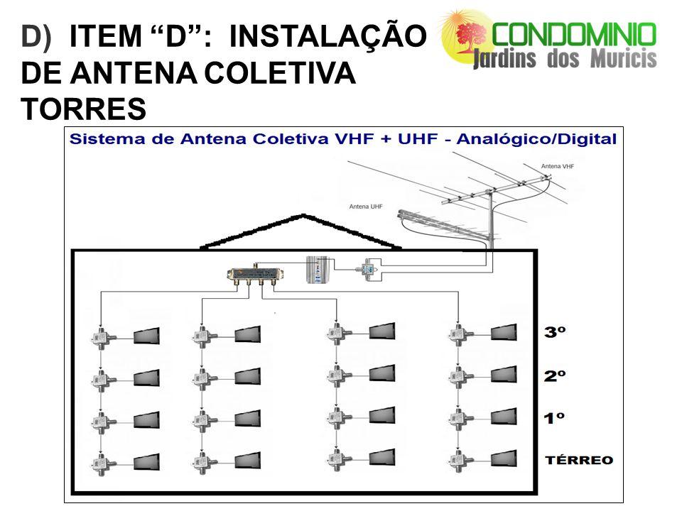 D) ITEM D: INSTALAÇÃO DE ANTENA COLETIVA TORRES