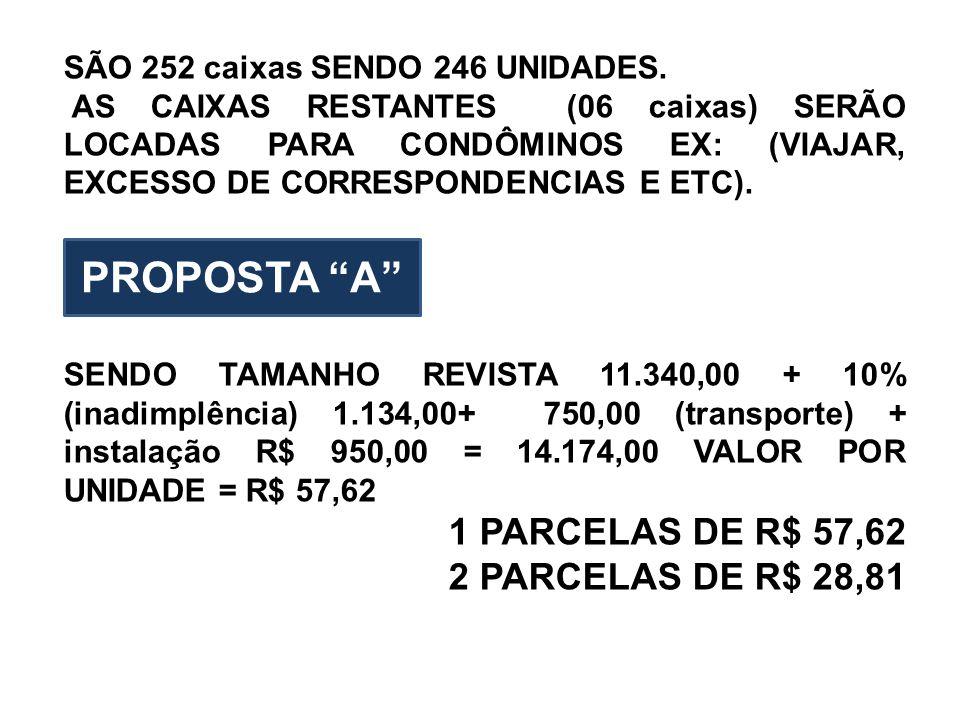 SÃO 252 caixas SENDO 246 UNIDADES. AS CAIXAS RESTANTES (06 caixas) SERÃO LOCADAS PARA CONDÔMINOS EX: (VIAJAR, EXCESSO DE CORRESPONDENCIAS E ETC). SEND