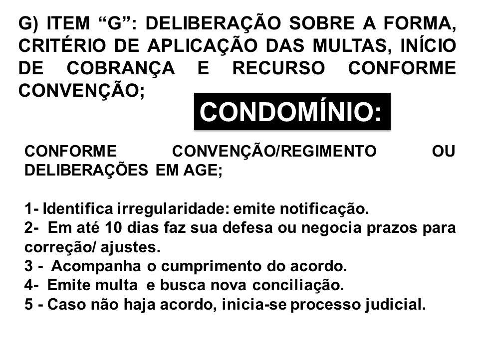 G) ITEM G: DELIBERAÇÃO SOBRE A FORMA, CRITÉRIO DE APLICAÇÃO DAS MULTAS, INÍCIO DE COBRANÇA E RECURSO CONFORME CONVENÇÃO; CONFORME CONVENÇÃO/REGIMENTO