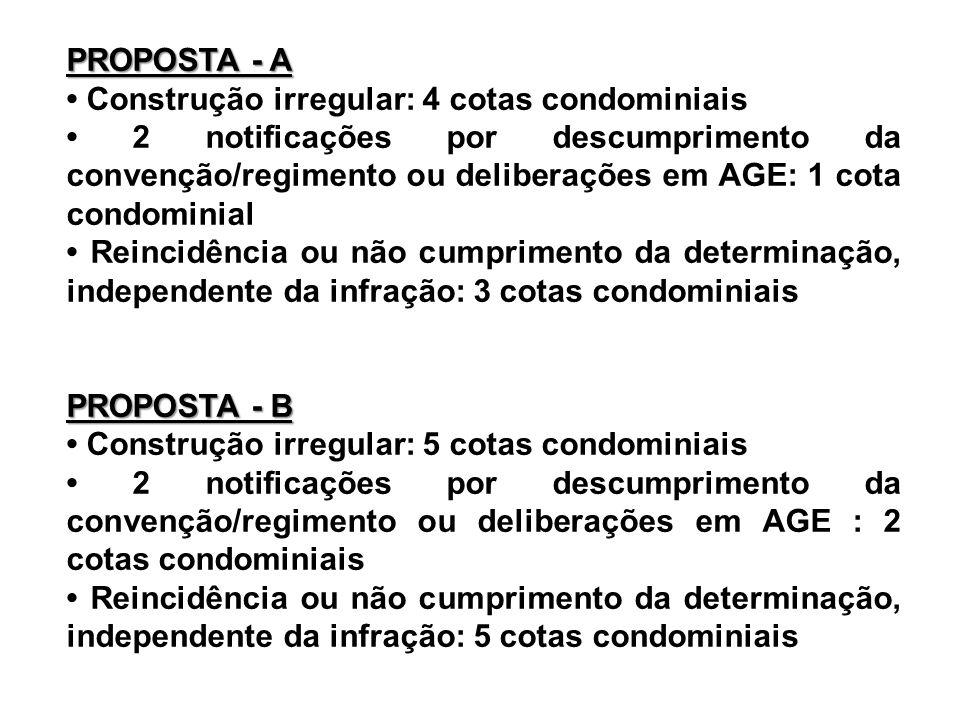 PROPOSTA - A Construção irregular: 4 cotas condominiais 2 notificações por descumprimento da convenção/regimento ou deliberações em AGE: 1 cota condom
